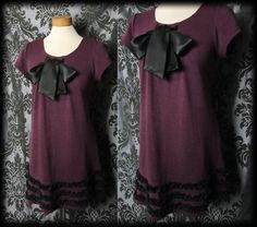 Gothic Burgundy Knit POSSESSED Black Satin Pussy Bow Tea Dress 10 12 Lolita Vintage