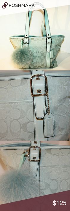 Coach Tote Traditional Monogram + Leather Coach Tote Traditional Monogram + Leather 2 straps Zip top Loads of room!   Fox purse pom not included Coach Bags Shoulder Bags