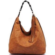 Camel Dessa Braided Strap Hobo Bag ❤ liked on Polyvore featuring bags, handbags, shoulder bags, tassel purse, white hobo handbags, hobo purses, man bag and hobo hand bags