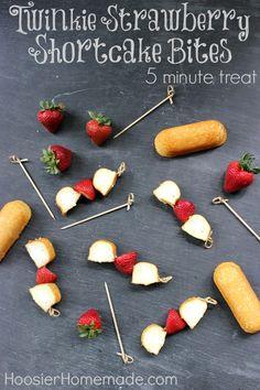 Twinkie Strawberry Shortcake Bites :: A Super quick treat in 5 minutes or less. Recipe on HoosierHomemade.com #nobake #Twinkies #dessert