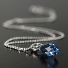 Sapphire blue crystal necklace on sterling silver chain, September Birthstone