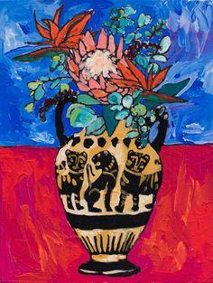 Protea Bouquet in Greek Wild Cat Urn on Ultramarine Floral Still Life Painting Protea Art, Protea Bouquet, Henri Matisse, Folded Cards, Blue Backgrounds, Framed Art Prints, Still Life, Saatchi Art, Original Paintings