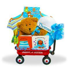 Mini Wagon Gift Basket for Boys Price: $75.00 #GiftBaskets4Baby #Boys #gifts #giftbaskets #Baby For more information visit: www.GiftBaskets4Baby.com