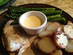 """Seared Pacific Cod, Asparagus Dipped in Hollandaise Sauce and Sauteed Potatoes as featured in E L James """"Fifty Shades of Grey."""""""