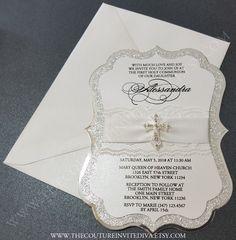White and Silver Communion, Baptism or Confirmation Invitation.