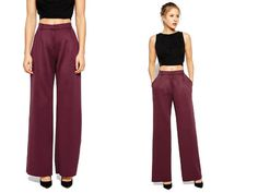 Embrace Marsala trends with a pair of high-waist, Wide Leg Trousers - £32 via ASOS – a bucket bag, and a floral shift dress.