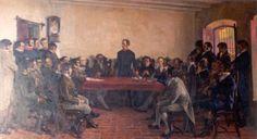 Congreso del año XIII - Pedro Blanes Viale Oleo sobre tela 0.98 x 0.51 Pinacoteca del Palacio Legislativo