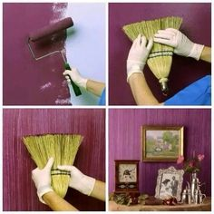 tolle Wandgestaltung Wohnideen Wandfarbe Besen Source by UnknownAbbuter Ideas Geniales, Painting Tips, Painting Walls, Painting Furniture, House Painting, Painting Art, Painting An Accent Wall, Purple Painting, Building Painting