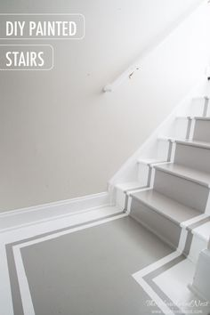 INCREDIBLE stair makeover with PAINT! SO much cheaper than stain or new stairs! If y… – staircase Painted Staircases, Painted Stairs, Wooden Stairs, Spiral Staircases, White Stairs, Traditional Staircase, Staircase Remodel, Staircase Makeover, Interior Stairs