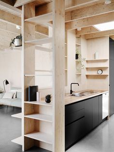 Modern kitchen with plywood
