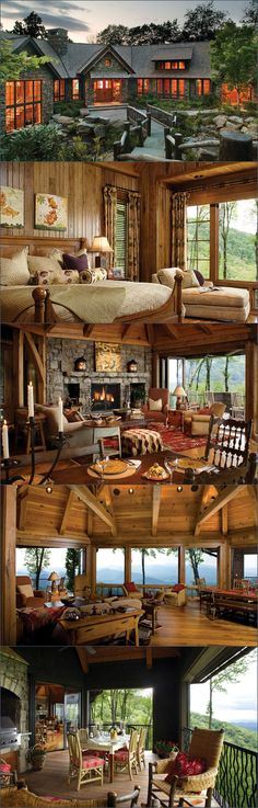 That round living room with French doors & a massive stone fireplace!!!! (Deck off 2 sides but not the middle ❤️)