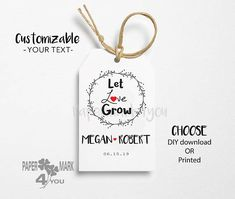 Items similar to 24 Wreath Let Love Grow Tag_Rustic Bridal Shower Tag _ Highly Personalizable Text Any Language_ Template Available_Let Love Grow Tag on Etsy Wedding Tags, Bridal Shower Rustic, Language, Place Card Holders, Wreaths, Templates, Let It Be, Love, Unique Jewelry