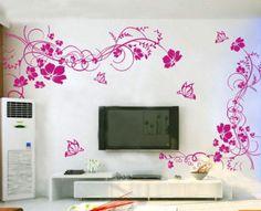 adesivo de parede de flores sala de tv