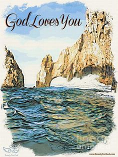 GOD LOVES YOU.  Even in stormy waters we can keep our balance when we remember that God loves us.  We can get through everything, with God. This artwork is available for purchase in a variety of wonderful forms - Note Cards, Pillows, Wall Art...  www.BeautyForGod.com