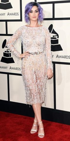 2015 Grammy Awards: Katy Perry in Zuhair Murad with Sophia Webster sandals.