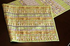 Herb Garden Strip Quilted Table Runner  Reversible by Lilaccorners ON ETSY - For your Easter table.