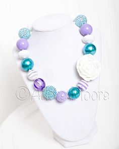 Purple and Turquoise w/ White Rose Chunky Bead Necklace, Chunky Necklace, Chunky Bead Necklace, Child Girls Necklace on Etsy, $20.00