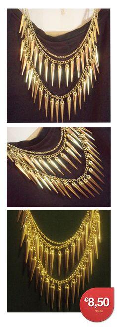 AllTrendy.es Tu tienda de Accesorios - Collar Tachas Color Dorado