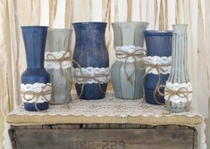 Vases,Hand Painted Flower Vases, upcycled flower vases, Rustic wedding centerpieces Shabby Chic, Navy Blue and Grey Wedding