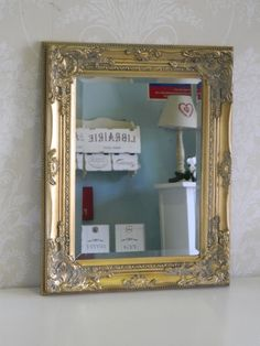 Gold ornate wall mirror bedroom rectangle hall dining lounge shabby vintage chic
