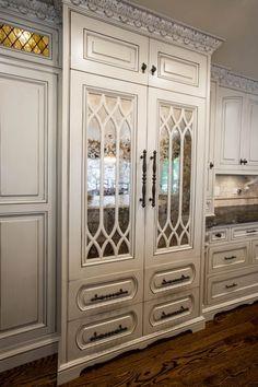 Custom Luxury Refridgerator Design.❤️I love love the dark glaze on these cabinets & crown molding, really accentuating every crevice.❤️
