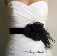 Wedding Sash  Bridesmaid Belt MADISON  Black by BridalShoppe, $64.00