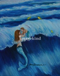 Amy Brown Mermaid Art | Mother mermaid and baby playing in the waves Art Prints by Amy Brown ...