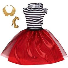 Barbie Complete Look Fashion Pack -Striped Top Ruby Skirt Barbie Doll Accessories, Doll Clothes Barbie, Barbie Dress, Barbie Outfits, Barbie Stuff, Mattel Barbie, Look Fashion, Fashion Outfits, Fashion Design