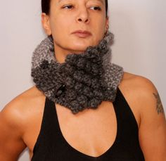Knit Scarf Cowl Chunky Infinity Scarf Knit Loop Neck by lightist, $52.00