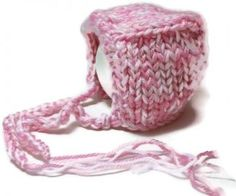 Knit baby hat bonnet pink white warm soft infant BA-12 by spinningsheep for $15.00