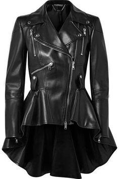 Alexander McQueen - Leather Peplum Biker Jacket - Black #style #fashion #coat