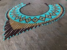 Tribal Beaded Necklace turquoise purple and gold image 1 Tribal Bracelets, Tribal Necklace, Beaded Collar, Beaded Choker, Silver Cuff, Silver Hoop Earrings, Turquoise And Purple, Macrame Necklace, Native American Jewelry