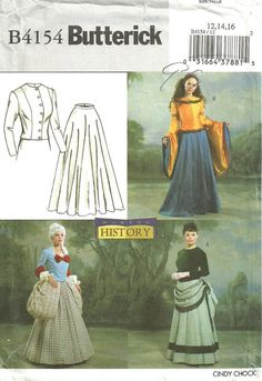 Butterick 4154 / Wearing History Costume Sewing by studioGpatterns