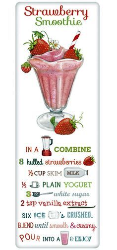 Strawberry Smoothie Recipe 100% Cotton Flour Sack Dish Towel Tea Towel
