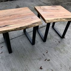 Live Edge Walnut Entry/sofa Table with Steel base and walnut shelf. Table is NW walnut and has lots of color/character. Table is 32 x 13 x 32 SOLD CAN… Log End Tables, Rustic End Tables, Coffee And End Tables, Wood Slab Table, Wood Table Design, Live Edge Furniture, Log Furniture, Live Edge Wood, Live Edge Table