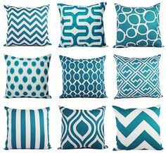 Teal Couch Pillow Covers - Turquoise Pillow Covers - Modern Turquoise and White - Decorative Throw Pillow - Cushion Cover - Accent Pillow