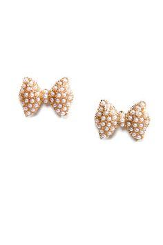 Cute Bow Earrings - Post Earrings - Stud Earrings - Pearl Earrings - $10.00