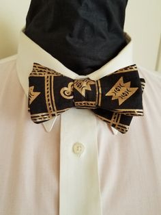 Black and gold African print self tied bow tie by VetisDezigns