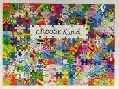 "EVERY student in the school participated in a collaborative artwork proclaiming our school wide theme, ""Choose Kind"". Each will be auctioned off at the . Classroom Auction Projects, Art Auction Projects, Class Art Projects, Art Classroom, Auction Ideas, Welding Projects, School Classroom, School Projects, Classroom Ideas"
