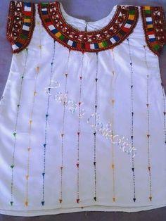 Embroidery On Kurtis, Kurti Embroidery Design, Embroidery Dress, Embroidery Thread, Dress For Girl Child, Dresses Kids Girl, Baby Dresses, Girls, Dress Neck Designs