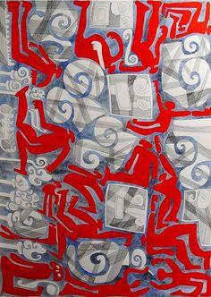 Wind w/ Red Figures by Benicio Nunez