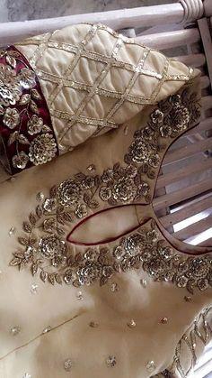 Zardosi Embroidery, Embroidery Suits Punjabi, Embroidery On Kurtis, Hand Embroidery Dress, Kurti Embroidery Design, Embroidery Neck Designs, Bead Embroidery Patterns, Embroidery Fashion, Beaded Embroidery