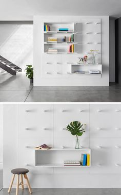 9 Ideas For Using Pegboard And Dowels To Create Open Shelving // This pegboard is made of modular panels and removable pegs and boxes allowing for endless storage possibilities.