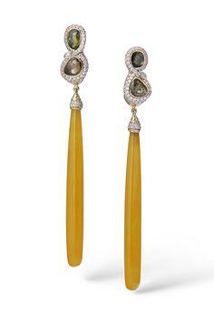 BIRDS OF PARADISE EARRINGS • Yellow Jade, Green Sapphires, White Diamonds, 18k Yellow Gold