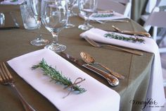 Rosemary accents for our Texas Tuscan wedding - styling by Mayhar