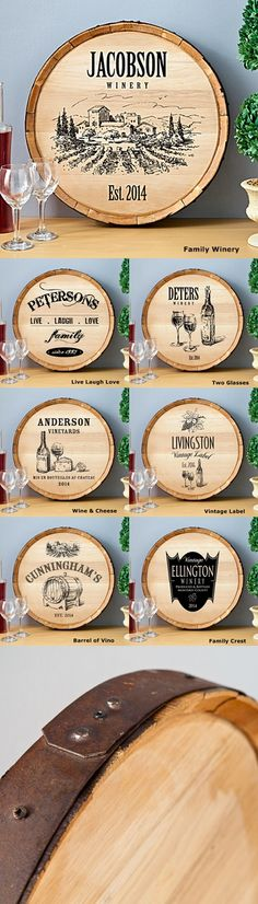 Personalized Wooden Wine Barrel Signs (7 Designs)