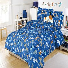 5 piece Kids Full Dog Themed Comforter Set, Puppy Bedding for Boys, Cute Adorable Baby Puppies Pouncing and Playing, All Over Pattern + Doggy Pillow //Price: $73.26 & FREE Shipping //     #bedding sets