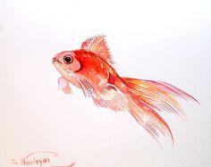 Poisson rouge, aquarelle originale, 8 X 10 po, goldfich art, art d'enfants, enfants-sticker, poissons d'aquarium