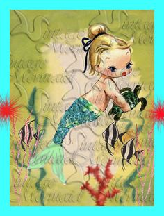 mb4 FABRIC BLOCKS Little Mermaid Postcard Print Quilt Merbaby Fabric Block for Quilting DIY Quilts.