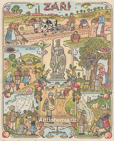 Josef Lada Josef Lada Hrusice - Prague) was a Czech painter, illustrator and writer.Illustration for the calendar, seasons-August. Naive Art, Autumn Activities, Illustrations, Czech Republic, Four Seasons, Folk Art, Needlework, Fairy Tales, How To Draw Hands